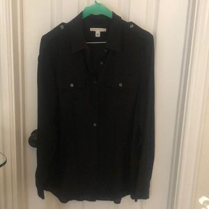 Banana republic Black silk camp shirt